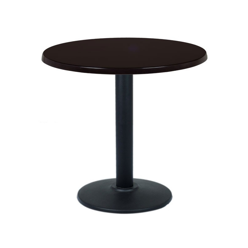 Table restaurant ronde 60 cm plateau bois et pied m tal noir for Table ronde de bar