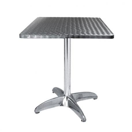 Table terrasse aluminium carr 60 cm plateau aluminium - Table et chaise de terrasse professionnel ...