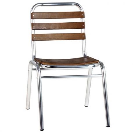 Chaise EXT13 de terrasse aluminium et bois