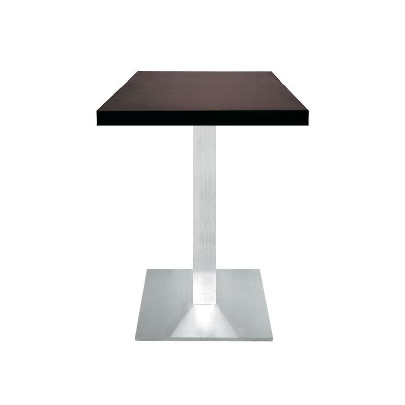 table restaurant 60x60 cm plateau bois et pied inox bross. Black Bedroom Furniture Sets. Home Design Ideas