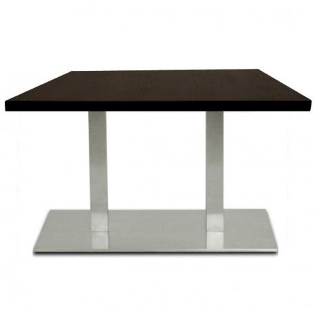 table restaurant 110x60 cm plateau bois et pied inox bross. Black Bedroom Furniture Sets. Home Design Ideas
