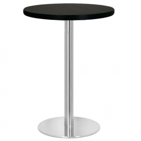 Table restaurant cm plateau bois et pied inox bross for Table haute ronde