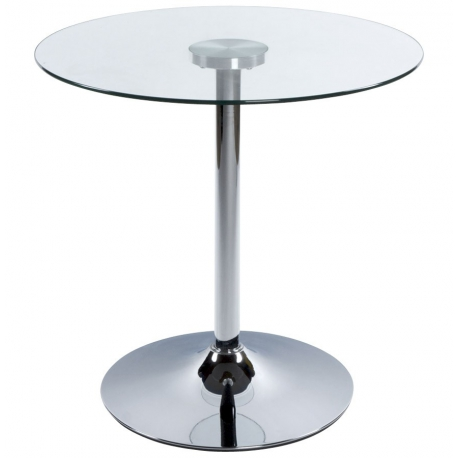Table basse de Restaurant design ronde - VERRE - table d'apoint verre et métal