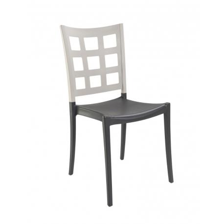 Chaise de Terrasse Design TROZIA polypropylène ANTHRACITE LIN MAT