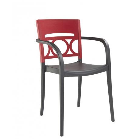fauteuil de terrasse design polypropylne anthracite rouge plusieurs coloris - Fauteuil De Terrasse