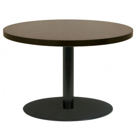 Table Ronde 90 Cm Pied Central.Table Restaurant Ronde 90 Cm Plateau Bois Melamine Et Pied Metal Noir