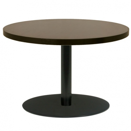 table restaurant ronde 90 cm plateau bois m lamin et pied m tal noir. Black Bedroom Furniture Sets. Home Design Ideas