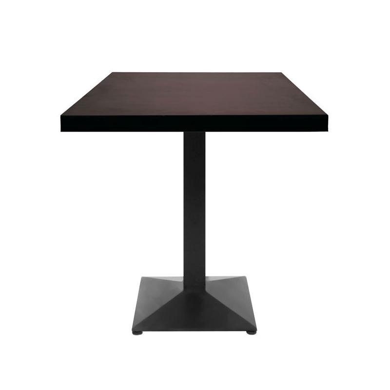 table restaurant 60x60 cm plateau bois et pied m tal noir petit prix. Black Bedroom Furniture Sets. Home Design Ideas