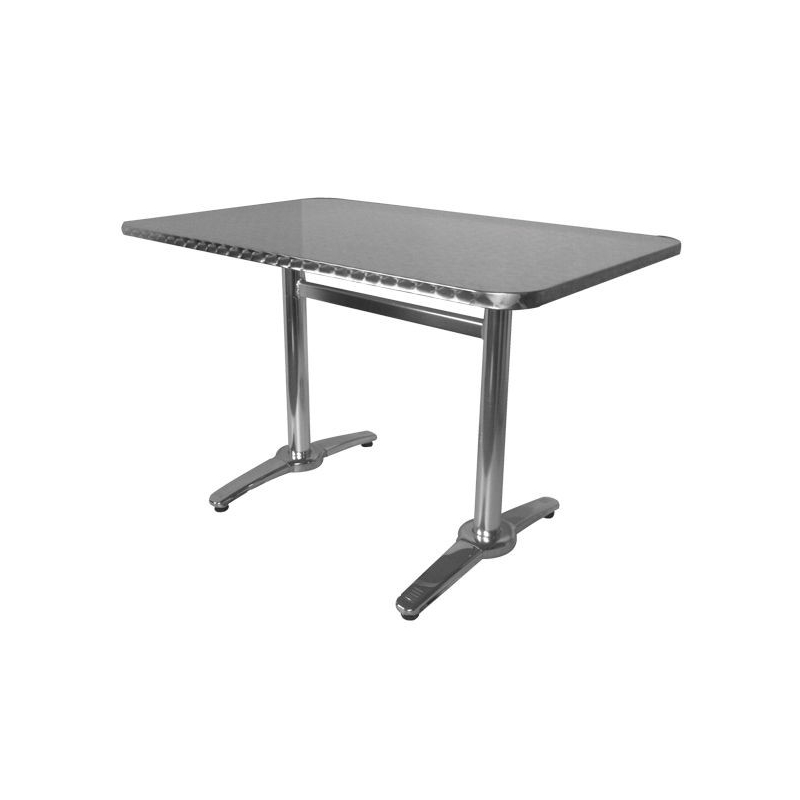 Table terrasse aluminium carr 60 cm plateau aluminium - Table bistrot rectangulaire aluminium ...