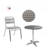 PACK TERRASSE ALU - Tables Ronde Chaises de restaurant