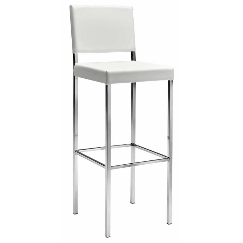 Chaise haute de bar blanc ligne design mobiliers for Chaise pour table blanche