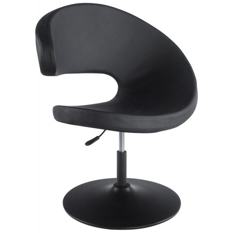 Fauteuil design rond similicuir et m tal chrom pour - Fauteuil de table simili cuir ...